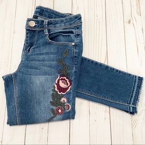 BLUE SPICE Floral Embroidered Skinny Jeans Size 12